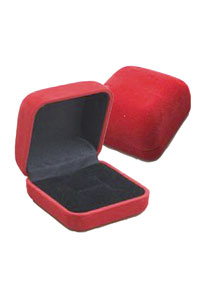 RED FLOCKED RING BOX
